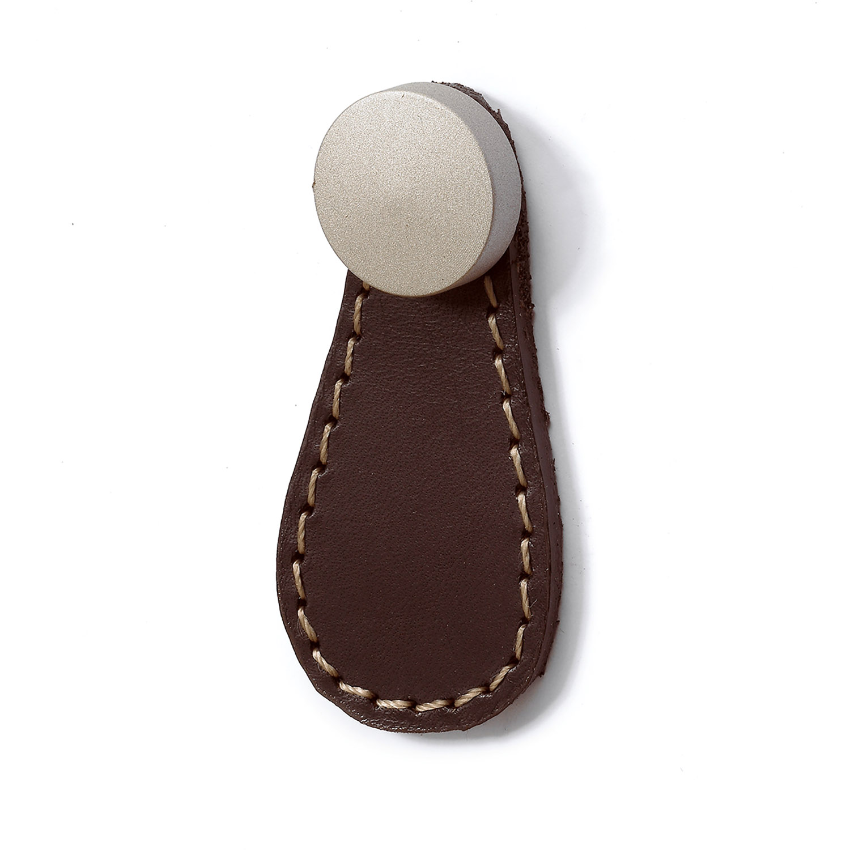 Hettich Galati Dark Brown Leather Knob